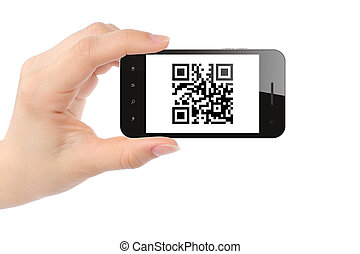 Hand holds smart phone with QR code on white background
