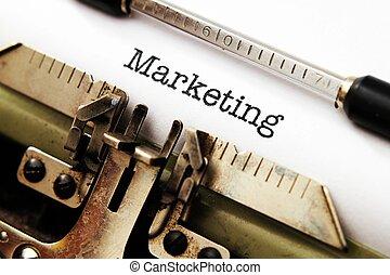 marketing, texto, Máquina escrever