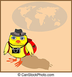 Cute chicken with a backpack and a camera in cartoon stile,...