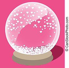 Magic crystal ball with small white heart inside