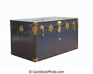 Vintage trunk isolated - Blue travel trunk
