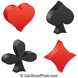 3d game cards symbols. Vector illustration. Set elements for...