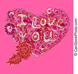 I Love You. Heart on a pink background. Vector illustration.