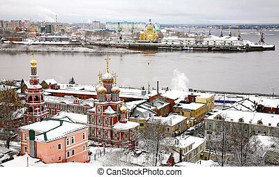 Winter russian ancient city Nizhny Novgorod Russia