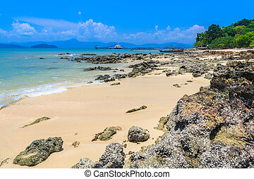 Rock beach on tropical island