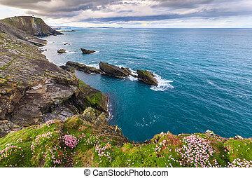 Isolated island with stunning foreground, Shetland, UK