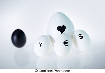 Love is bigger than money - Image of big white egg with...