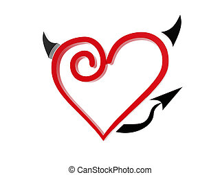 red love heart devil symbol