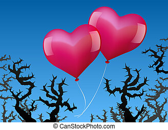 Balloons Love Danger - Two heart shaped pink balloons are...