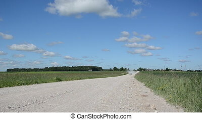 landscape rural road car - Landscape of rural gravel road...