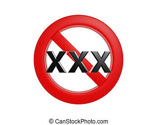 Adult content forbidden symbol isolated on white background