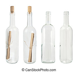 Set of four glass bottles isolated - Transparent glass...
