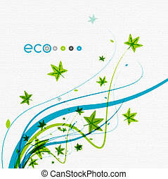 Green eco conceptual leaves on white design