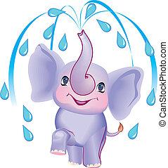 elefantek - The cheerful toy blue cub of the elephant does a...