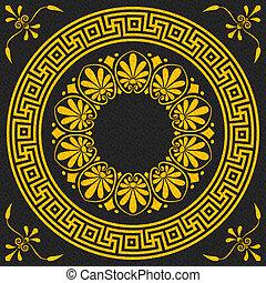 gold Greek ornament Meander - set Traditional vintage golden...
