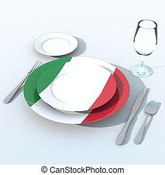 bandiera,  Italia,  3D