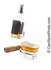 Whisky & Cigar - Bourbon Whiskey and a Cuban Cigar