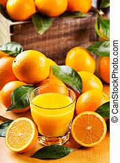 vidro, laranja, suco, fresco, frutas