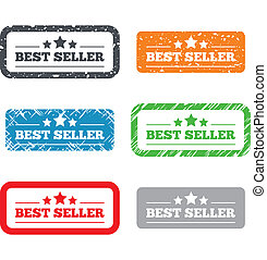 Best seller sign icon Best seller award symbol Retro Stamps...