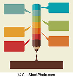 Creative infographics background with colored pencils
