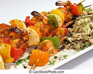 Shrimp Kebabs with Rice - Spicy shrimp kebabs with colorful...