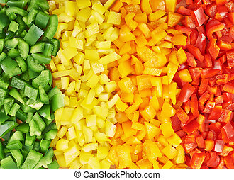 Sweet bell pepper cut into pieces - Surface coated with a...