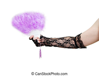 Performance theater items such as lace gloves and feather...