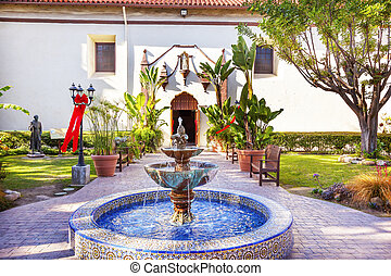 Mexican Tile Fountain Serra Statue Mission San Buenaventura...