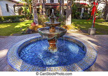 Mexican Tile Fountain Garden Mission San Buenaventura...