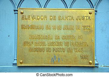 Elevator de Santa Justa, Lisbon - The constructors plaque at...