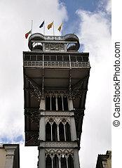 Elevator de Santa Justa, Lisbon - Close up of the upper...