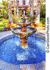 Mexican Tile Fountain Garden Mission San Buenaventura...