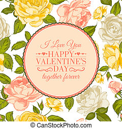 I love you card. Happy valentines day. Vector illustration.