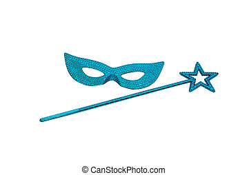 Wand and gemmed mask - Sparkly gemmed mask and star wand...