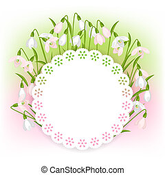 Spring flowers snowdrops natural background.