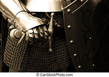 Knight - People in Middle ages ( close up ) - sepia tone