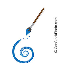 Paintbrush Spiral - Floating paintbrush painting blue spiral...