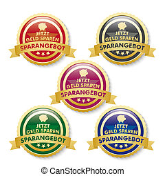 Discount Offer 5 Golden Buttons - 5 buttons on the white...