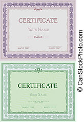 Set of two certificates in different colors