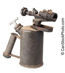 Vintage old rusty blowtorch - Vintage old blowtorch isolated...