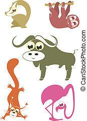Cartoon funny animals set for design 5