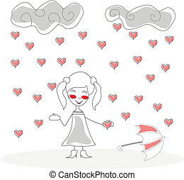 doodle girl with umbrella under rain of hearts vector