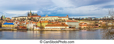 The View on Prague gothic Castle with Charles Bridge in the...