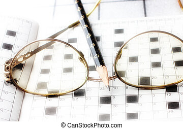 Spectacles, pencil, crossword as drill of the thinking and...