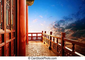 Chinese ancient buildings of local - The evening sky...