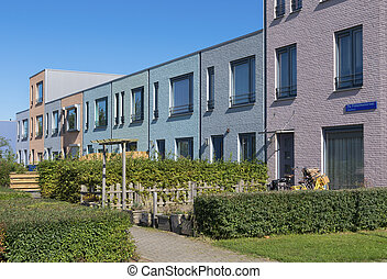 new housing - modern colorful houses in almere, netherlands