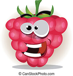 Funny Happy Raspberry Character - Illustration of a funny...