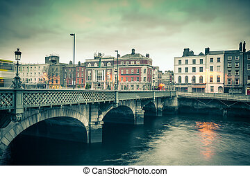 Dublin - Vintage style view of Dublin Ireland Grattan Bridge...