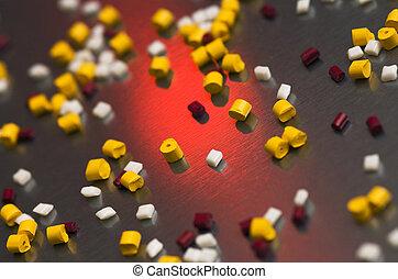 polímero, granos, Acero, hoja