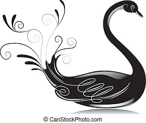 Black and White Swan - Black and White Illustration of a...
